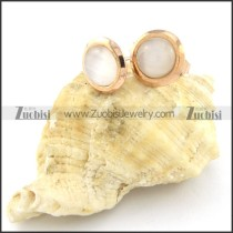 beauteous rose gold finishing 316L white stone Earrings for Women - e000356