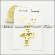 gold plated cross earring and pendant matching jewelry s000933
