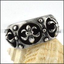 French Stainless Steel Cross Ring - r000080