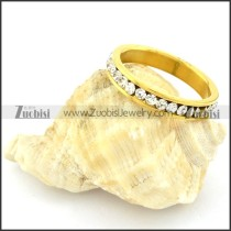 Gold Plating Stainless Steel Wedding Ring CNC Clear Zircon -r000632