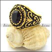 gold mens' rings in stainless steel with round black facted stone -r001062