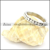 High Polishing Stainless Steel Wedding Ring CNC Clear Zircon -r000633
