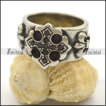 casting cross ring with black rhinestones r002110