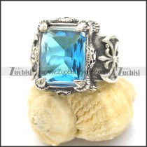 big clear light blue square facted stone fleur de lis ring r002112