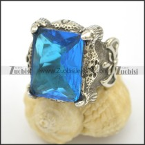 Clear Blue Facted Zircon Fleur De Lis Ring r002499