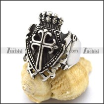 Vintage Crown Ring with Cross r002996