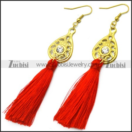 red tassel earring