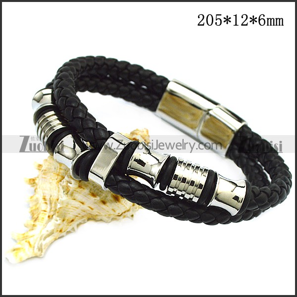 Hot Seller of Black Leather Bracelet with Stainless Steel Accessories