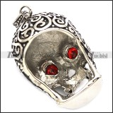 53mm big black skull pendant with 2 clear ruby zircons p001597