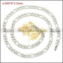 Stainless Steel Figaro Chain Neckalce n003092SW8