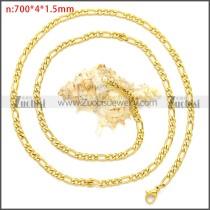 Gold Plating Stainless Steel Figaro Chain Neckalce n003093GW4