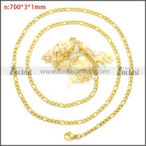 Yellow Gold Plating Stainless Steel Figaro Chain Neckalce n003093GW3
