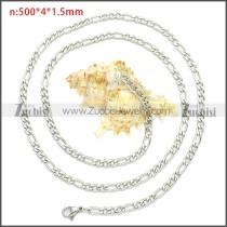 Stainless Steel Figaro Chain Neckalce n003092SW4