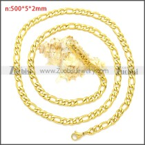 Gold Plated Stainless Steel Figaro Chain Neckalce n003092GW5