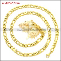 Gold Plated Stainless Steel Figaro Chain Neckalce n003092GW6