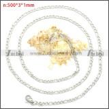 Stainless Steel Figaro Chain Neckalce n003092SW3