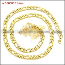 Gold Plated Stainless Steel Figaro Chain Neckalce n003092GW8