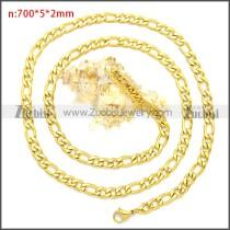 Golden Stainless Steel Figaro Chain Neckalce n003093GW5