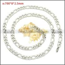 Stainless Steel Figaro Chain Neckalce n003093SW8