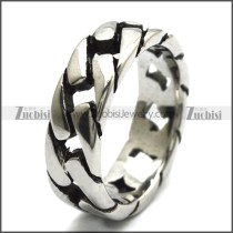 7mm Wide Shiny Stainless Steel Band Cuban Link Chain Ring r008459S1