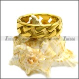 7mm Wide Golden Stainless Steel Cuban Link Chain Ring r008459G