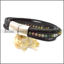 Stainless Steel Leather Bracelet b009808H3