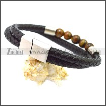 Stainless Steel Leather Bracelet b009809H2