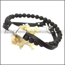 Stainless Steel Leather Bracelet b009814H