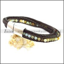 Stainless Steel Leather Bracelet b009808K2