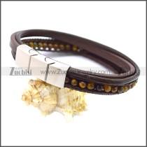 Stainless Steel Leather Bracelet b009808K3