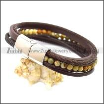 Stainless Steel Leather Bracelet b009808K1