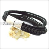Stainless Steel Leather Bracelet b009808H1