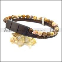 Stainless Steel Leather Bracelet b009811K