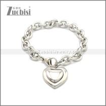 Cuban Link Stainless Steel Heart Bracelet b009993S