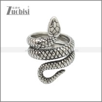 Vintage Stainless Steel Snake Stye Cocktail Party Statement Ring for Unisex r008762SA