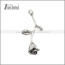 Stainless Steel Rose Flower Statement Pendant p010981S
