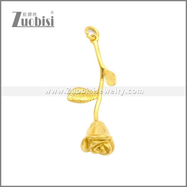 Golden Stainless Steel Rose Flower Style Pendant Party Necklace p010981G