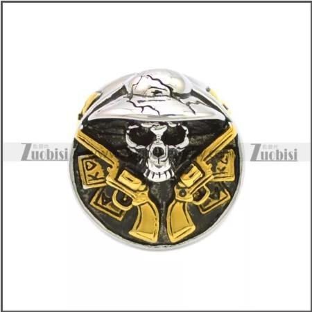 2 Guns Skull Biker Ring