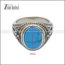 Stainless Steel Turquoise Stone Ring r008905SHB