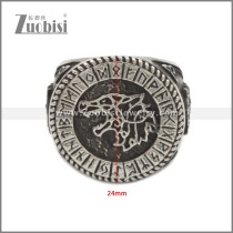Men 316L Stainless Steel Norse Viking Odin's Wolf Rune Vantage Ring r008942SA