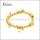 Shiny Gold Plating Stainless Steel Barbed Wire Ring r008966G
