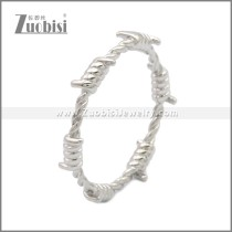 Shiny Silver Stainless Steel Barbed Wire Ring r008966S