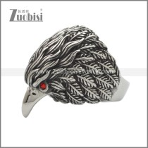 Stainless Steel Red Stone Eye Eagle Ring r008998SA3