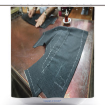 decorative shower curtain a tailor s work table with cloth for a jacket cut and marked