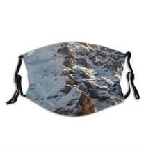 yanfind Idyllic Ice Glacier Daylight Frost Hike Frosty Snowy Rock Switzerland Climb Frozen Dust Washable Reusable Filter and Reusable Mouth Warm Windproof Cotton Face
