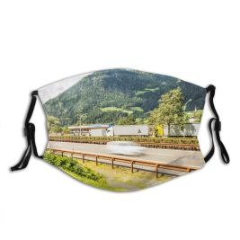 yanfind Idyllic Transportation Motion Car Mountain Road Way Clouds Plants Tourism Guard Roadway Dust Washable Reusable Filter and Reusable Mouth Warm Windproof Cotton Face