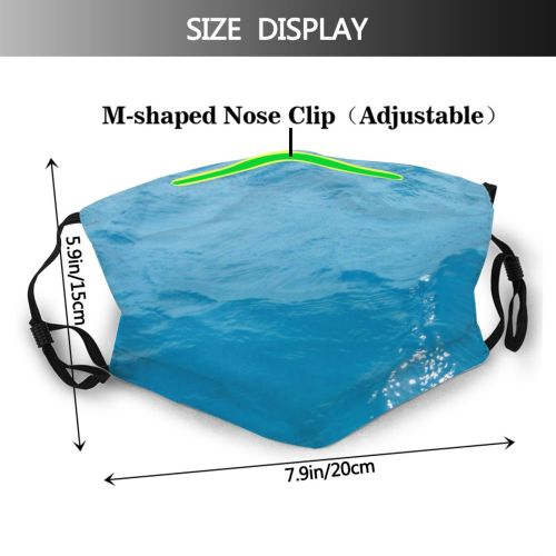 yanfind Wave Mallorca Sea Sky Turquoise Ocean Aqua Azure Summer Sea Wave Wind Dust Washable Reusable Filter and Reusable Mouth Warm Windproof Cotton Face