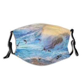 yanfind Dawn Dramatic Pastel Landscape Wild Flock Bird Coastline Island Tranquility Scene Softness Dust Washable Reusable Filter and Reusable Mouth Warm Windproof Cotton Face