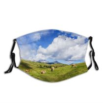 yanfind Idyllic Pasture Field Clouds Agriculture Cow Lawn Tranquil Scenery Mountains Beautiful Rural Dust Washable Reusable Filter and Reusable Mouth Warm Windproof Cotton Face