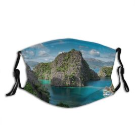 yanfind Idyllic Tropical Coast Vacation Daylight Rock Sea Formations Beach Tourism Island Mountains Dust Washable Reusable Filter and Reusable Mouth Warm Windproof Cotton Face